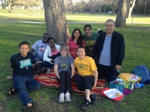 Iwan Sandjaja (kneeling, right) with international scholars at Baylor University, including United Board Fellow Sigit Purnomo (far left).