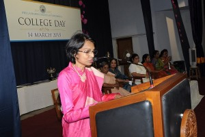 Dr. Joseph speaking at Stella Maris's College Day 2015.