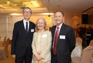 David York, left, with United Board President Nancy Chapman and Executive Vice President Ricky Cheng