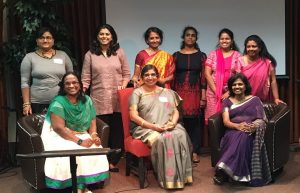 Alumnae of Lady Doak College welcome Principal Mercy Pushpalatha (front row, center) to the Washington, DC area.