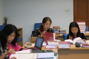 The Myanmar librarians practice cataloging books.